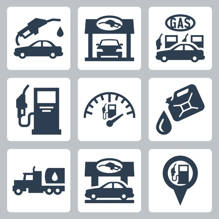 refuel: Vector gas station icons set Illustration