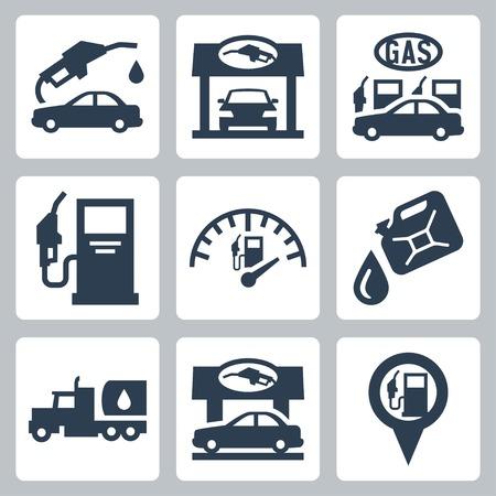 benzine: Vector gas station icons set Illustration