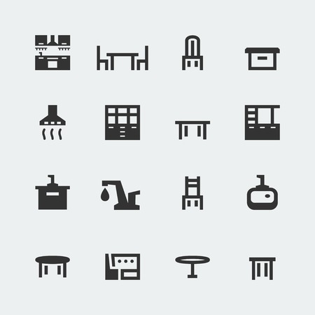 Vector kitchen furniture mini icons set Vector