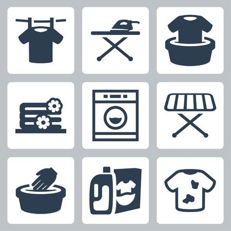 laundry line: Iconos lavander�a vector fijadas
