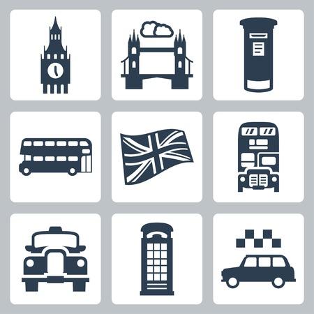 cabina telefonica: Vector Gran Bretaña, iconos de Londres fijaron