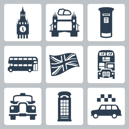 Vector Great Britain, London icons set Çizim
