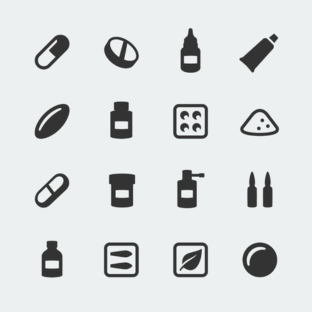 ointment: Vector medications mini icons set