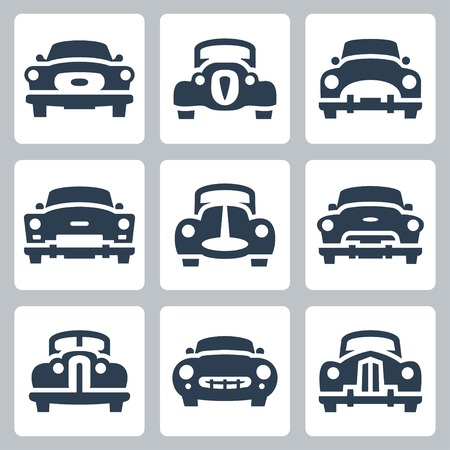Vector old cars icons set, front view Vector