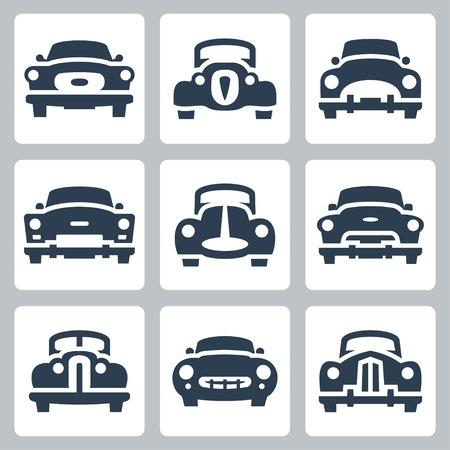 car transportation: Vectoriales viejos coches iconos fijados, vista frontal
