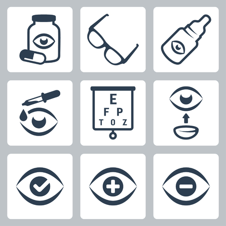 contact lens: Vector optometry icons set