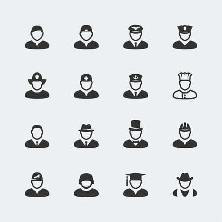 pilot: Vector people and professions mini icons set Illustration