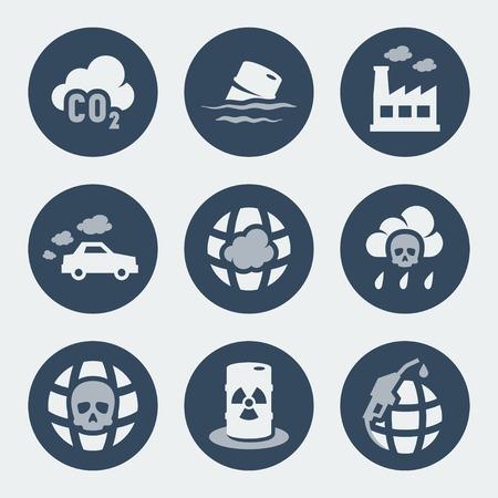 contaminacion ambiental: Iconos contaminaci�n del vector fijadas Vectores