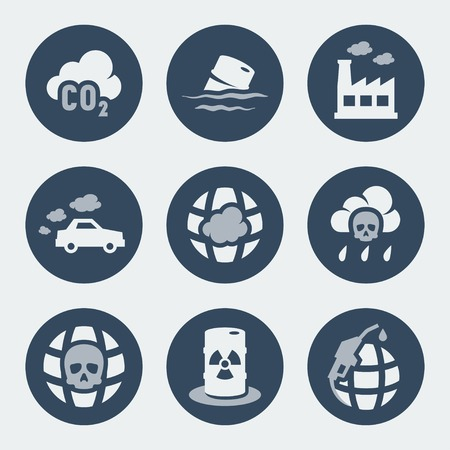 car pollution: Vector pollution icons set