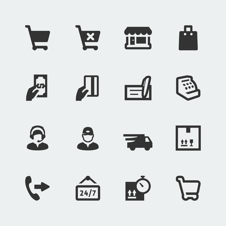 Vecteur d'achats et e-magasin de mini icônes fixés
