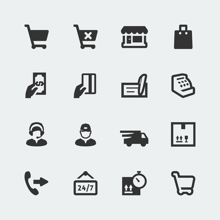 cash box: Vector shopping and e-store mini icons set