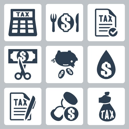 refund: Vector tax icons set