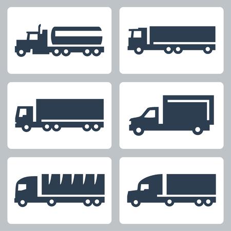 wheeler: Vector trucks icons set, side view