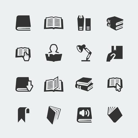 Vector boeken en het lezen van kleine pictogrammen instellen Stock Illustratie