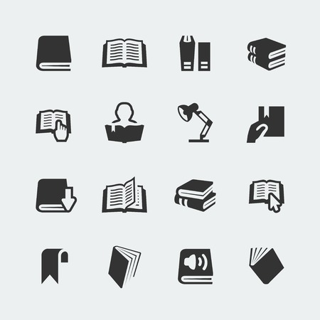 Vector books and reading mini icons set