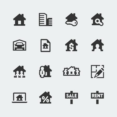 agente comercial: Los mini iconos Vector inmobiliarios establecidos Vectores