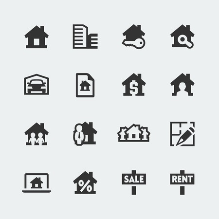 brokers: Vector real estate mini icons set