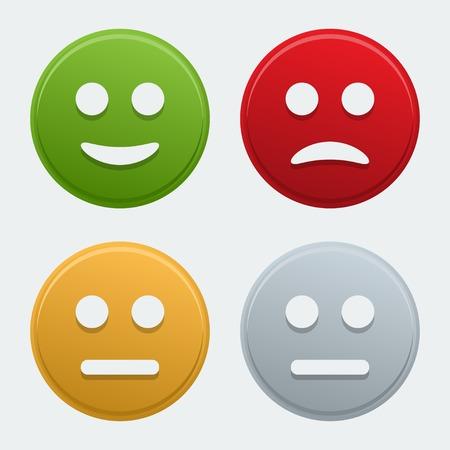 cara triste: Vector iconos coloridos sonrisa
