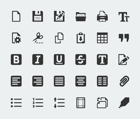 Los mini iconos Vector editor de textos fijaron