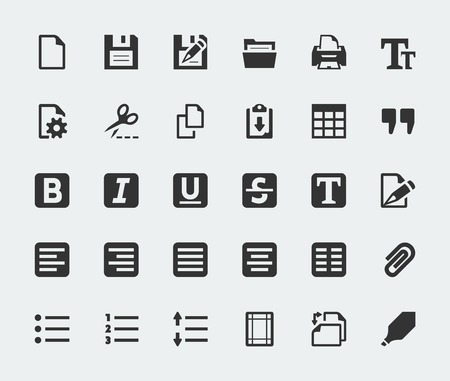 edit icon: Vector text editor mini icons set
