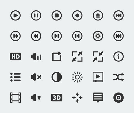 playlist: Vector video player mini icons set
