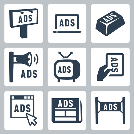 Vector isolated advertisment icons set Vector