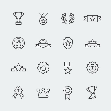 win win: Vector awards mini icons set