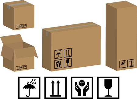 stockpile: vector packaging boxes and icons Illustration