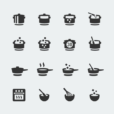 appliances icons: Vector cooking mini icons set Illustration