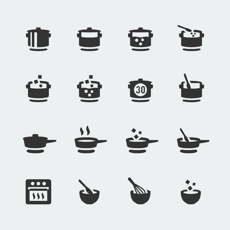 Vector koken mini pictogrammen instellen Vector Illustratie