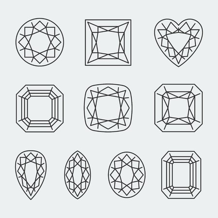 asscher cut: Vector diamond cuts icons set