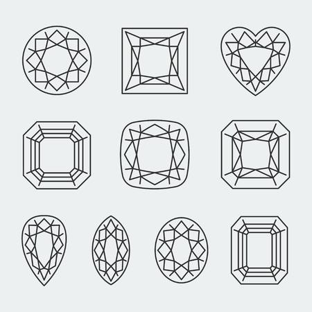 asscher: Vector diamond cuts icons set