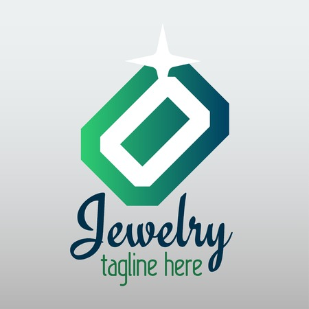 emerald gemstone: Vector jewelry illustration on grey background