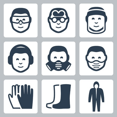 personal protective equipment: Vector job safety icons set Illustration
