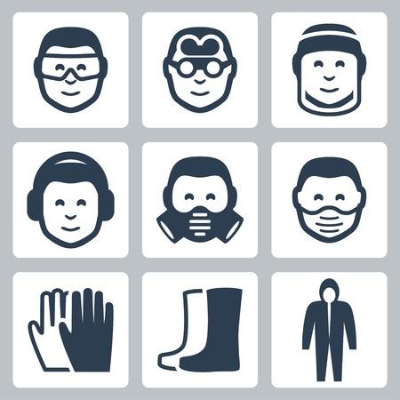 Vectorielle sécurité au travail icônes ensemble