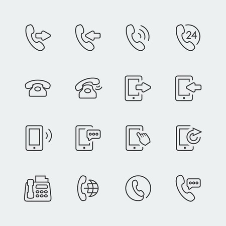 calling on phone: Vector phone and communication mini icons set