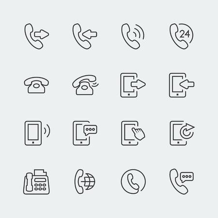 Vector Telefon-und Kommunikations Mini-Icons Set Illustration
