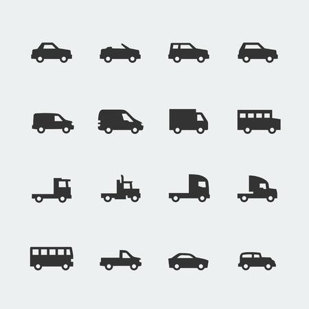 silhouette voiture: véhicules voitures vectorielles mini-icônes fixés Illustration