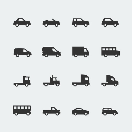 Vector cars   vehicles mini icons set Vector