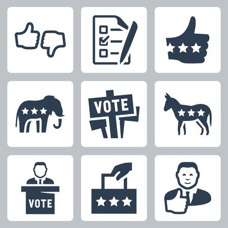 political rally: Набор векторных голосования и политика иконки Иллюстрация