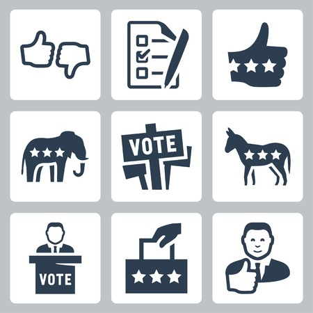 Vector voting and politics icons set