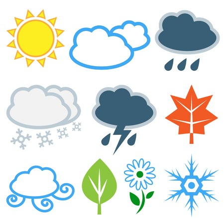 Weather and seasonal related icons Vector