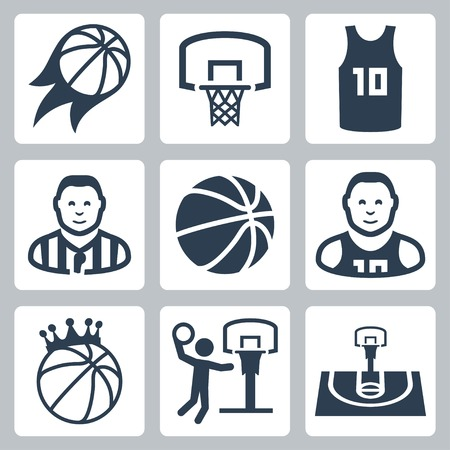 basketball ball on fire: Basketball vector icons set