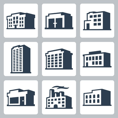 Buildings vector icons set, isometric style #2 Vector
