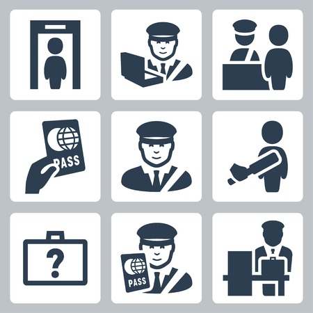 inspecting: Customs vector icons set