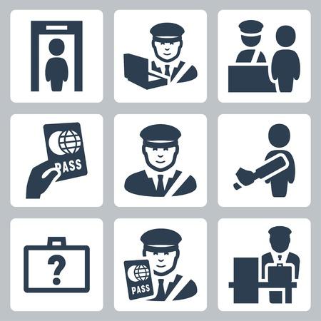 aduana: Iconos vectoriales de Aduanas establecen