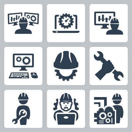 hand wrench: Engineering vector icons set