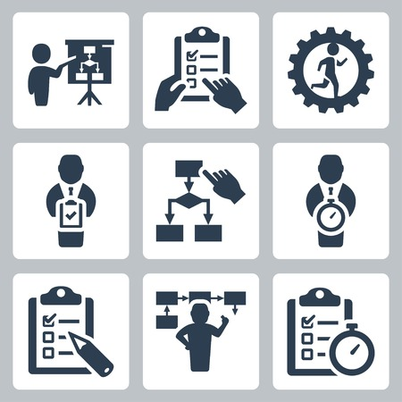Planning and business strategy vector icons set Vector
