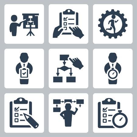 Planung und Geschäftsstrategie Vektor-Icons gesetzt Vektorgrafik