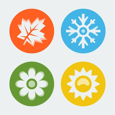 Vector four seasons icons set Stock Vector - 28460774